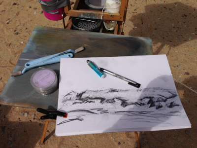 Sketching composition of the dunes on Golden Strand