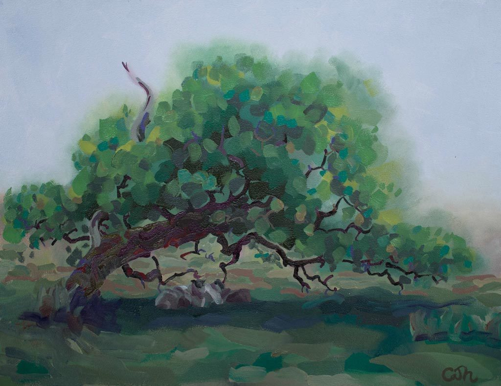 A painting of a bent oak with sheep sheltering below