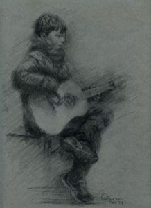 Pencil sketch of boy with guitar